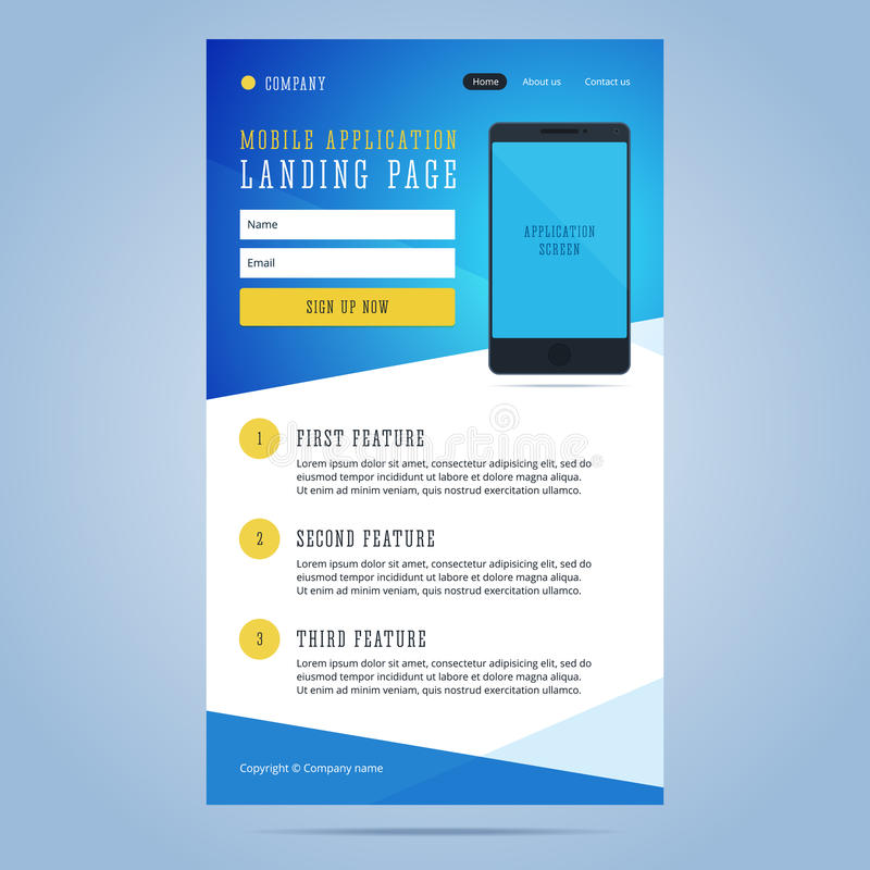 Landing page for mobile application promotion. Newsletter, email template for mobile application with smartphone and registration form. Vector illustration stock illustration