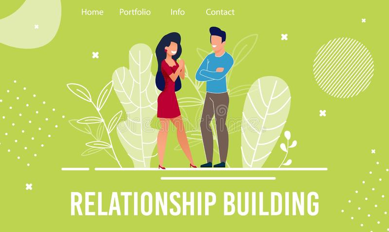 Landing Page Offers Help in Relationship Building. And Development. Cartoon Man and Woman Characters Start New or Renew Old Relations. Friendship. Psychological stock illustration