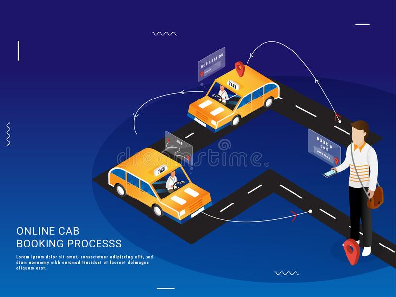 Landing page for Online Cab Booking Process in 3 easy steps. Landing page for Online Cab Booking Process in 3 steps with 3D illustration of man booking a taxi royalty free illustration