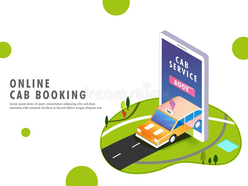 Landing page for Online Cab Booking Process in 3 easy steps. Landing page for Online Cab Booking Process in 3 steps with 3D illustration of man booking a taxi stock illustration