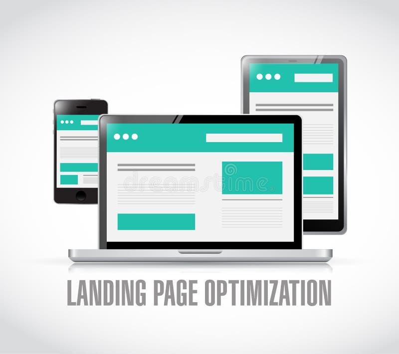 Landing page optimization concept illustration. Design over a white background vector illustration