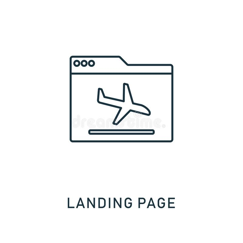 Landing Page outline icon. Thin style design from smm icons collection. Pixel perfect symbol of landing page icon. Web royalty free illustration
