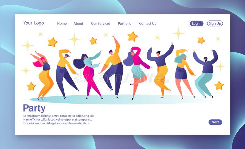 Concept of landing page with young happy dancing people. Young men and women enjoying dance party. Colorful vector illustration. Website development, landing vector illustration