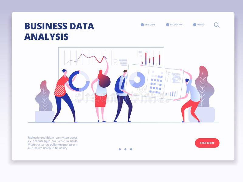 Landing page. People with dashboard and data charts infographic. Business analysis and statistics agency vector concept stock illustration