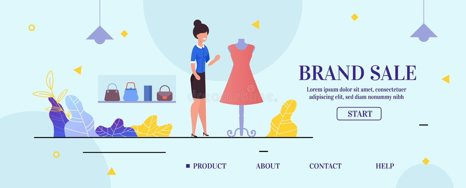 Landing Page Presenting Clothing Store Brand Sale. Landing Page Presenting Fashion Clothing Store Brand Sale. Friendly Smiling Saleswoman Offering Elegant Dress royalty free illustration