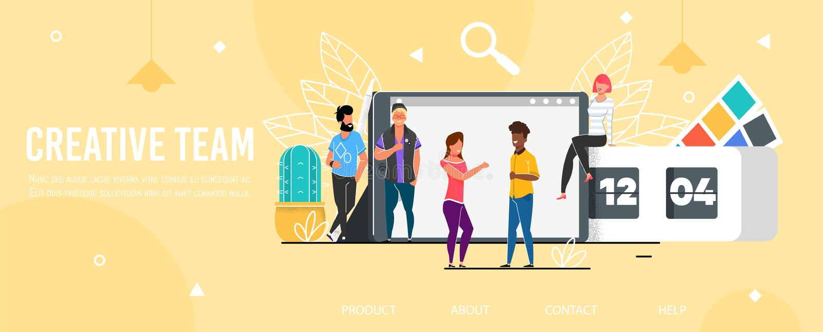 Landing Page Promoting Professional Creative Team royalty free illustration