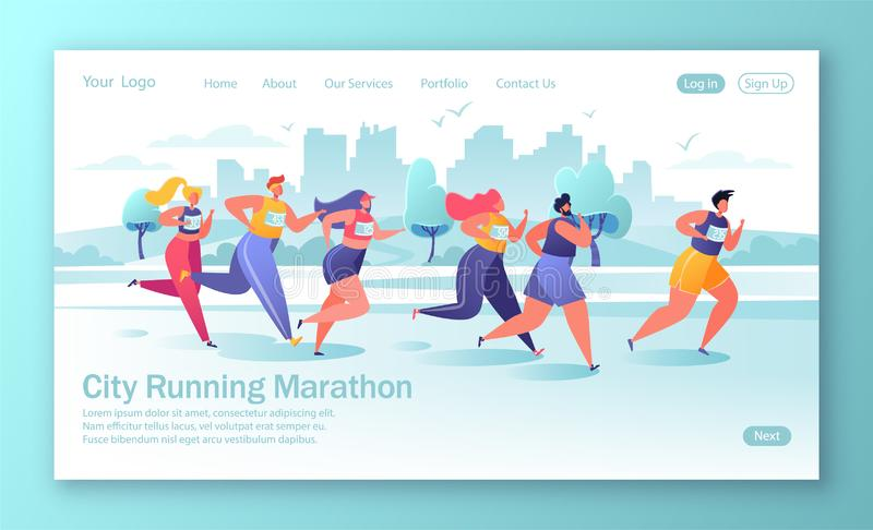 Healthy lifestyle concept for mobile website, web page. Active people characters running marathon distance. Flat, cartoon, trendy, vector illustration. Concept vector illustration