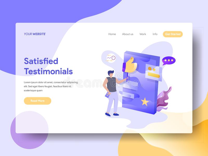 Landing Page Satisfied Testimonials. Vector illustration concept, a man giving likes on a testimonial board, can use for, landing pages, templates, UI, web stock illustration