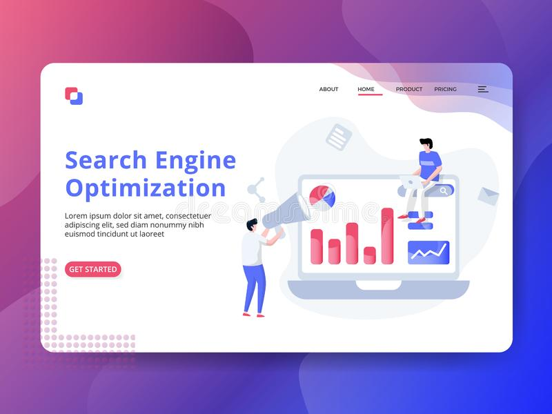 Landing Page Search Engine Optimization stock illustration