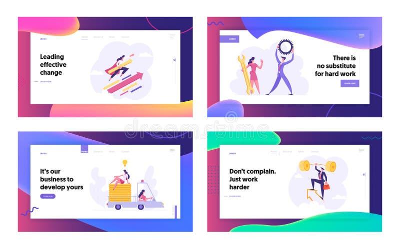 Landing Page Set für Business People Success Website Wettbewerb zwischen Männern und Frauen, Lösung lizenzfreie abbildung