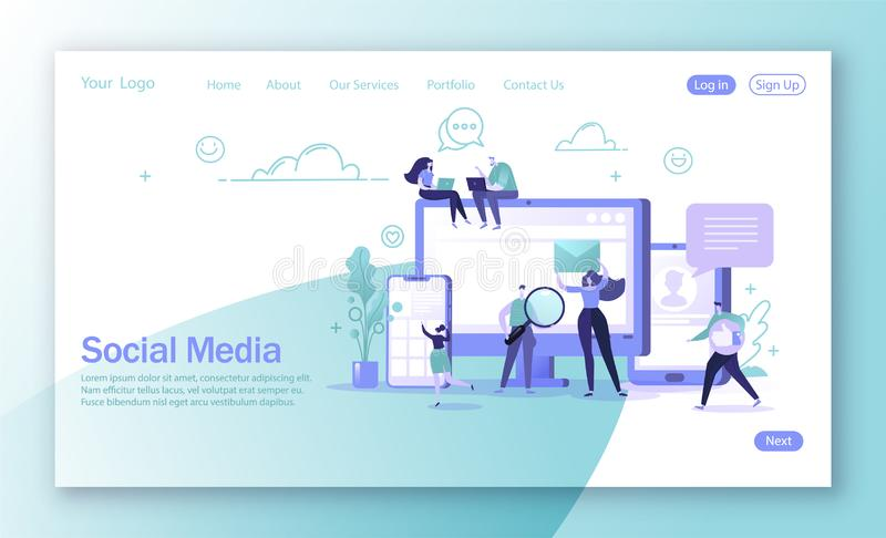 Vector illustration for mobile website development and web page design. Man and woman characters chatting and blogging using mobile devices. Global internet royalty free illustration
