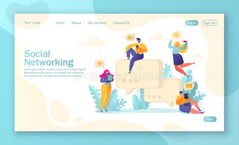 Template for landing page, mobile website development and web page design with flat people characters chatting with phones and tab. Lets on social media stock illustration