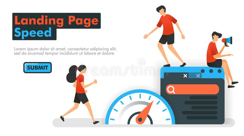 Landing Page speed vector illustration. People measure speed on the web and search engines to optimize SEO in processing keywords. And search results. Can be stock illustration