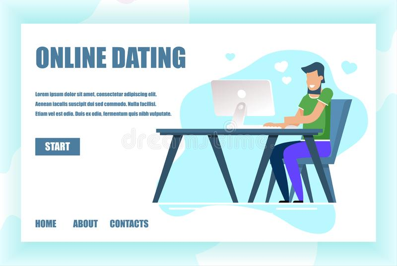 Landing Page for Online Dating Service Application. Landing Page with Start Button. Online Dating and Virtual Relationships Service. Social Networking stock illustration