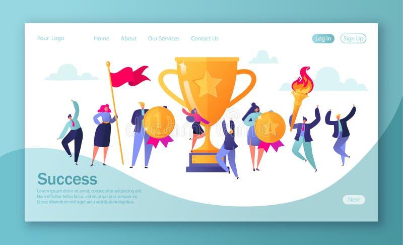 Concept of landing page on business success theme. Concept of business successful teamwork. Men and women celebrating victory. Achievement concept. Website vector illustration