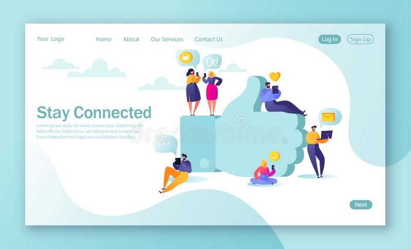 Concept of landing page for mobile website development and web page design. Flat people characters chatting in social networks nea vector illustration