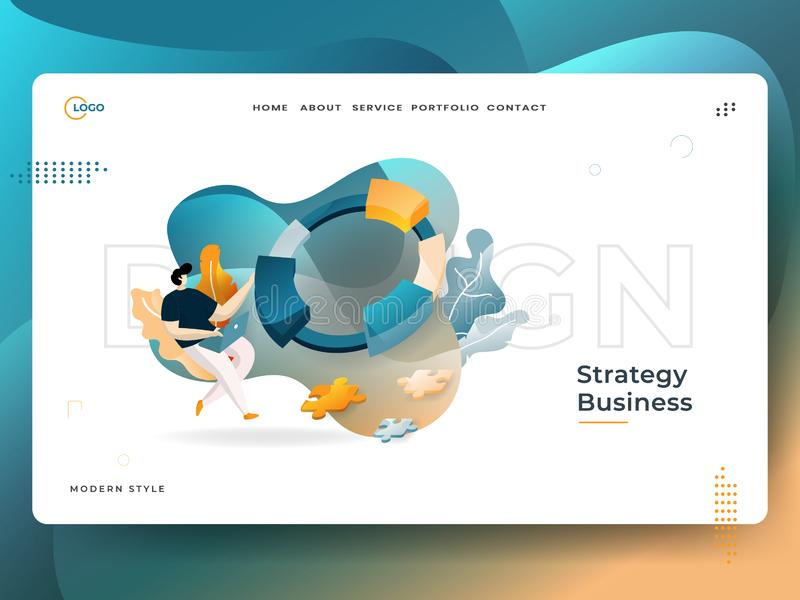 Landing Page Strategy Business vector illustration modern concept, can use for Headers of web pages, templates, UI, web, mobile royalty free illustration