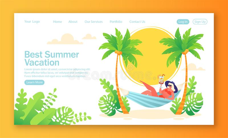 Concept of landing page on summer holiday, vacation theme. vector illustration