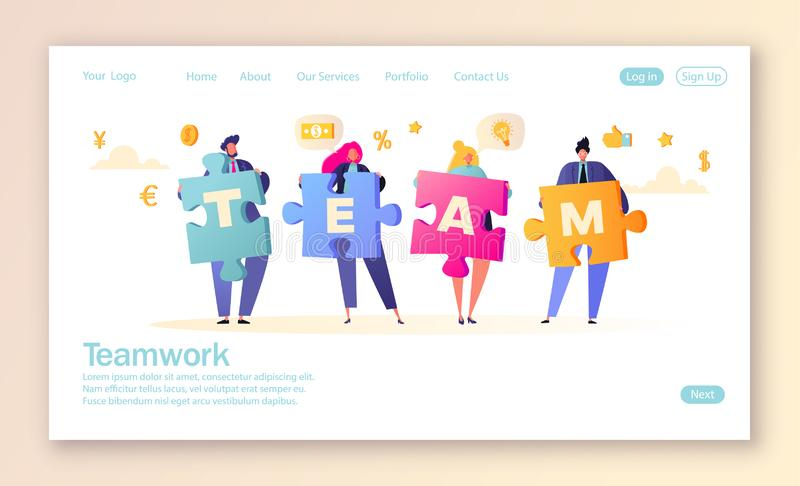 Concept of landing page for mobile website development and web page design. Business teamwork concept. Team metaphor. vector illustration