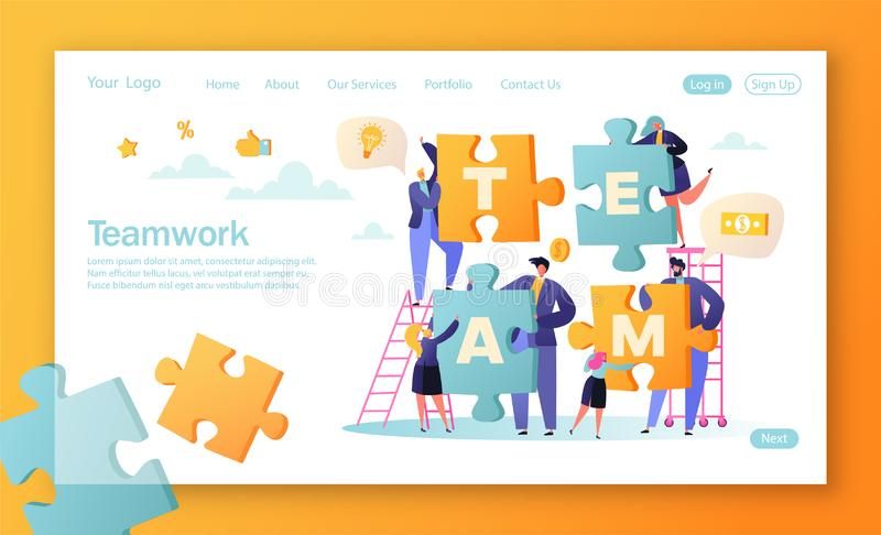 Concept of landing page for mobile website development and web page design. Vector illustration business teamwork concept. stock illustration