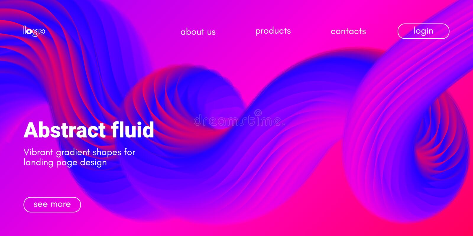 Landing Page Template with Abstract Fluid Shapes. vector illustration