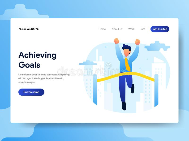 Landing page template of Achieving Goals Concept. Modern flat design concept of web page design for website and mobile website. Vector illustration royalty free illustration