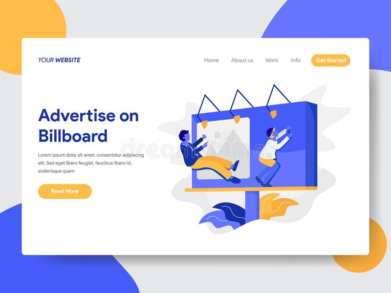 Landing page template of Advertise on Billboard Concept. Modern flat design concept of web page design for website and mobile. Website.Vector illustration stock illustration