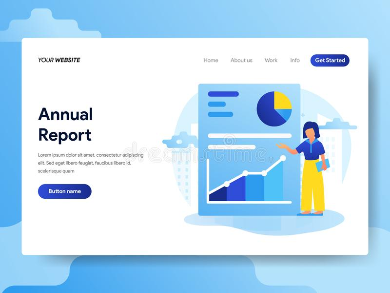 Landing page template of Annual Report Concept. Modern flat design concept of web page design for website and mobile website. Vector illustration vector illustration