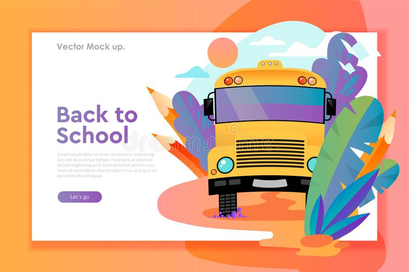 Back to school web design template with yellow school bus. Mockup for internet education, training, study, vector vector illustration