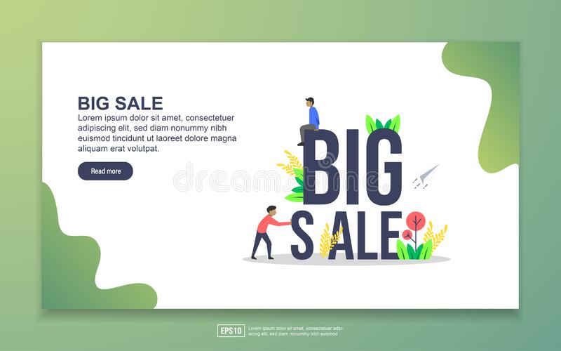 Landing page template of Big sale. Modern flat design concept of web page design for website and mobile website. Easy to edit and royalty free illustration