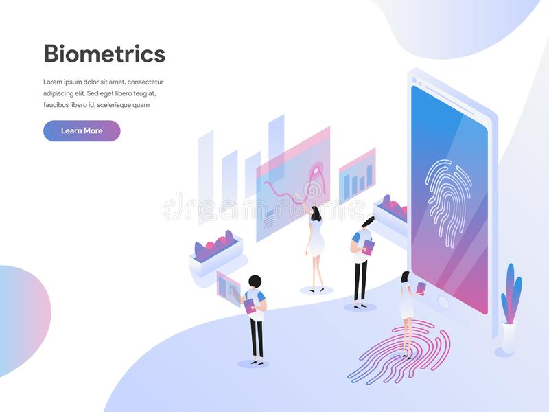Landing page template of Biometrics Technology Isometric Illustration Concept. Isometric flat design concept of web page design. For website and mobile website vector illustration