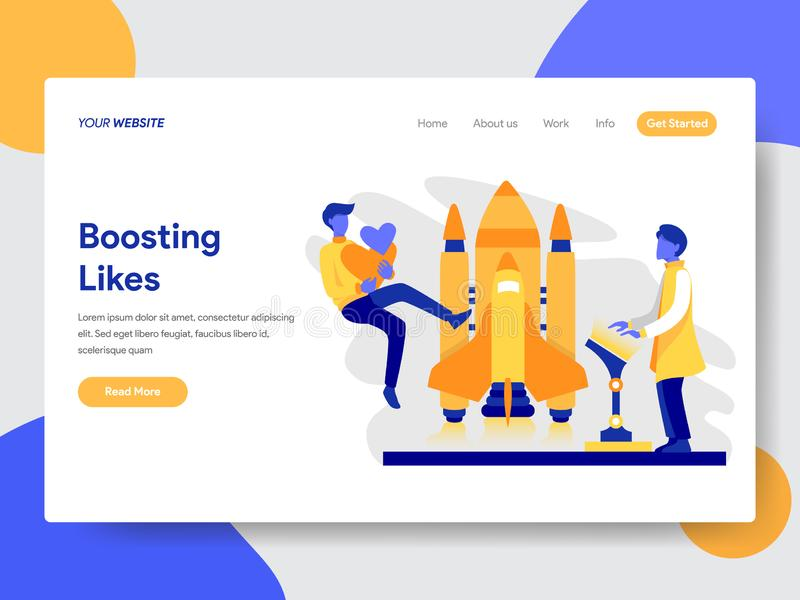 Landing page template of Boosting Likes Concept. Modern flat design concept of web page design for website and mobile website. stock illustration