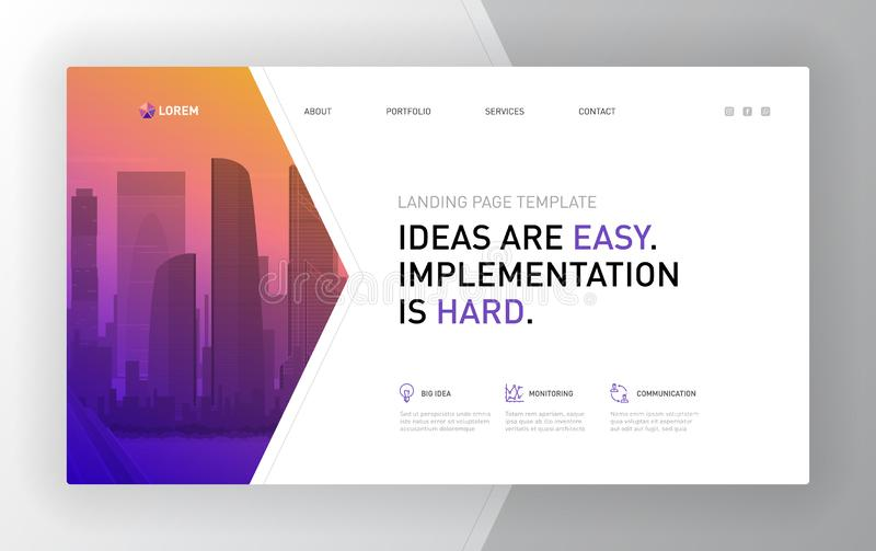 Landing page template for business. Modern web page design concept layout for website. Vector illustration stock illustration