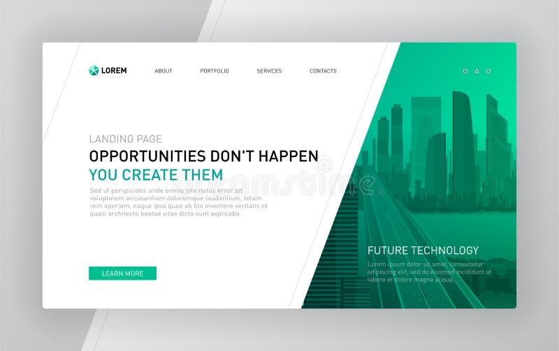 Landing page template for business. Modern web page design concept layout for website. Vector illustration. Brochure cover, banner, slide vector illustration