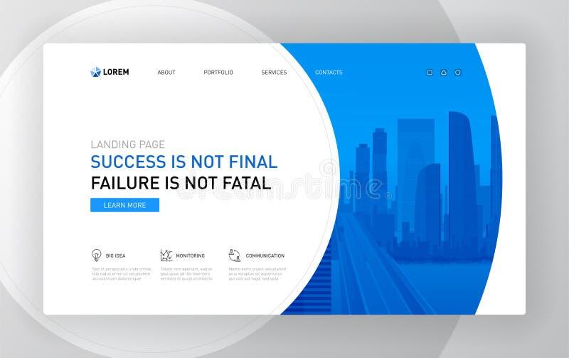 Landing page template for business. Modern web page design concept layout for website. Vector illustration. Brochure cover, banner, slide royalty free illustration