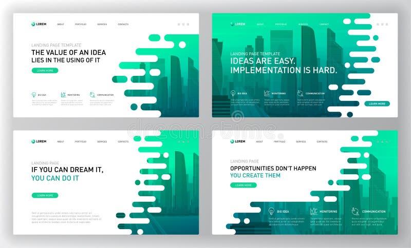 Landing page template for business. Modern web page design concept layout for website. Vector illustration. Brochure cover, web banner, website slide stock illustration