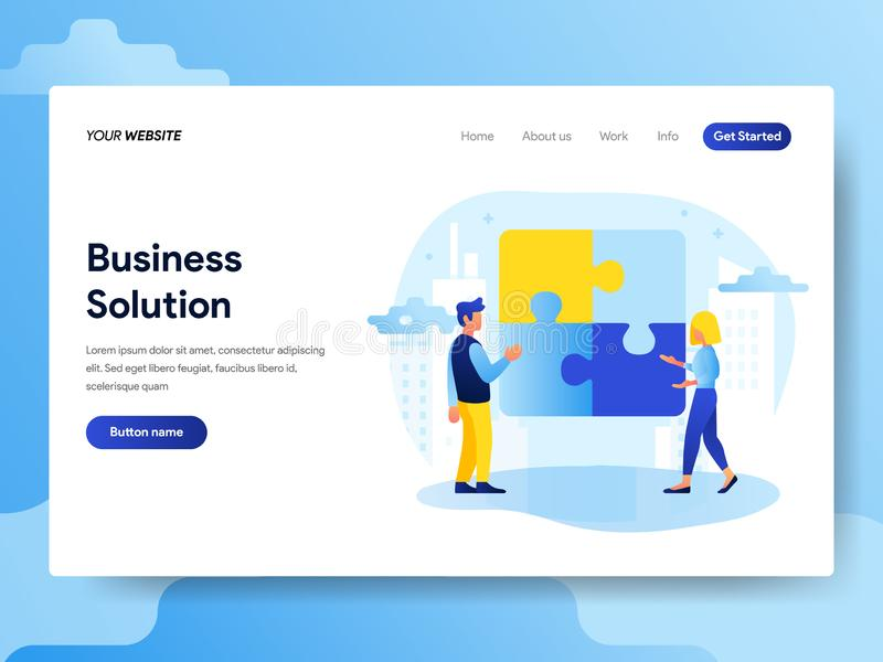 Landing page template of Business Solution Concept. Modern flat design concept of web page design for website and mobile website. Vector illustration royalty free illustration