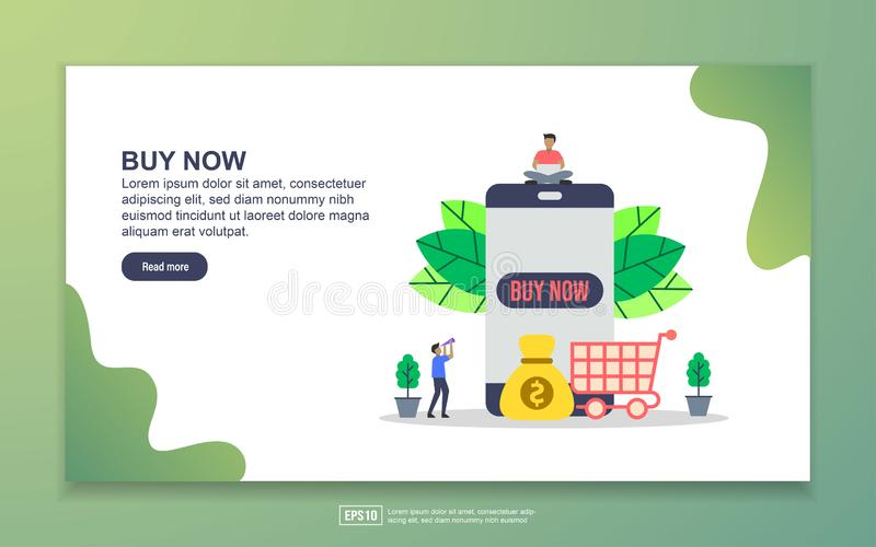Landing page template of Buy now. Modern flat design concept of web page design for website and mobile website. Easy to edit and. Customize, vector, poster royalty free illustration