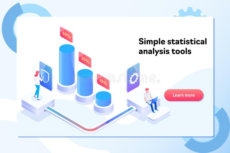 Landing page template of charts and analyzing statistics data visualization concept. Isometric vector illustration stock illustration