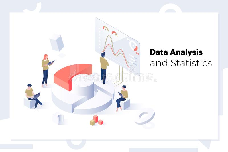 Data Analysis and Statistics concept Isometric web banner royalty free illustration