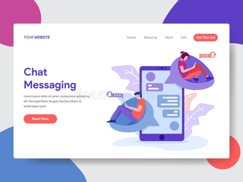 Landing page template of Chat Messaging Concept. Modern flat design concept of web page design for website and mobile website. Vector illustration stock illustration