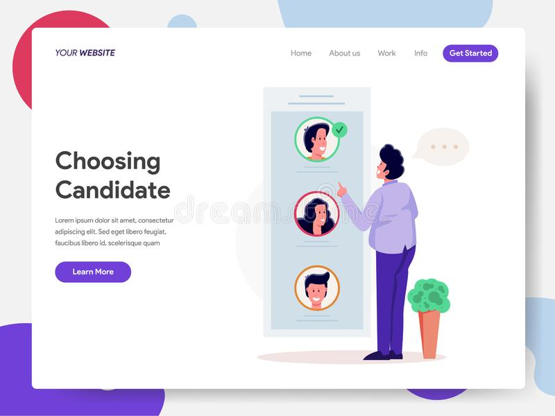 Landing page template of Citizen Choosing Candidate or Vote Illustration Concept. Modern design concept of web page design for. Website and mobile website stock illustration