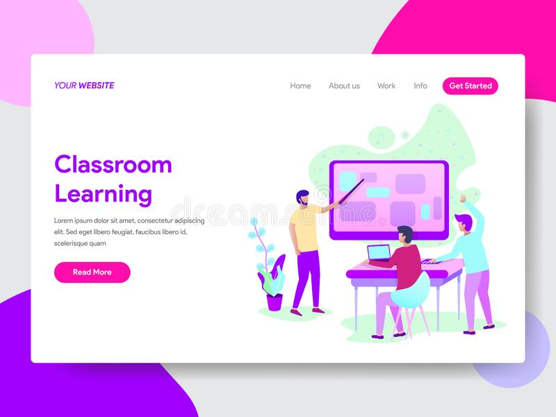 Landing page template of Classroom Learning Method Illustration Concept. Modern flat design concept of web page design for royalty free illustration