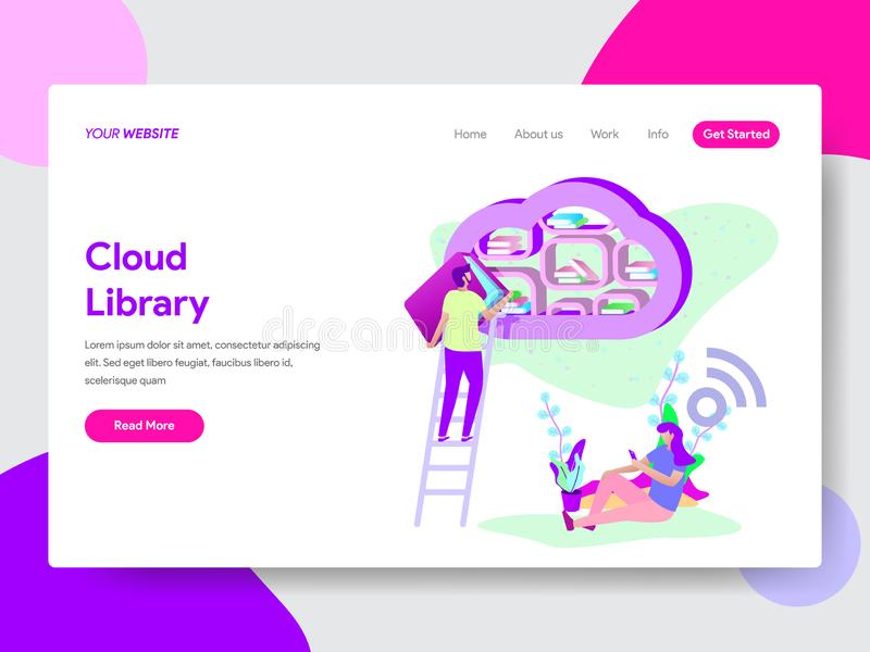 Landing page template of Cloud Library Illustration Concept. Modern flat design concept of web page design vector illustration