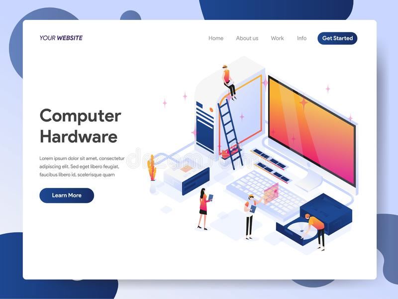 Landing page template of Computer Hardware Engineer Isometric Illustration Concept. Modern design concept of web page design for stock illustration