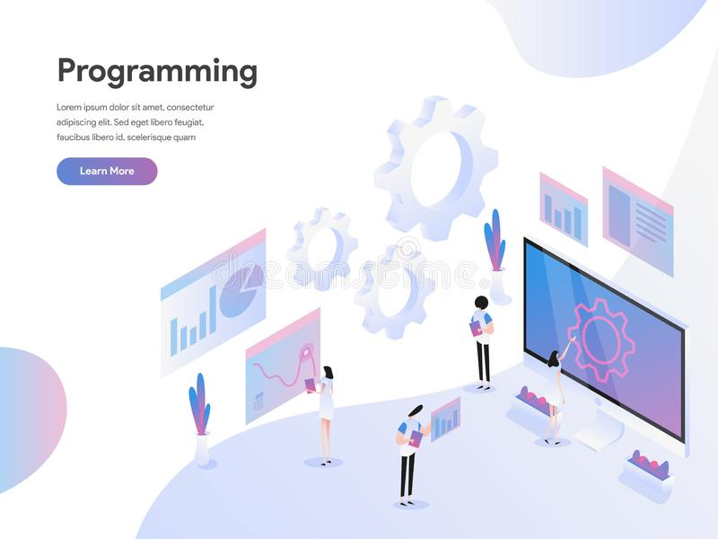 Landing page template of Computer Programming Isometric Illustration Concept. Modern Flat design concept of web page design for royalty free illustration