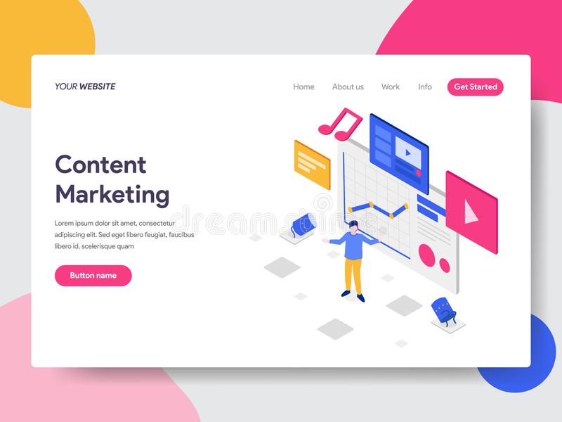 Landing page template of Content Marketing Illustration Concept. Isometric flat design concept of web page design for website and. Mobile website.Vector stock illustration