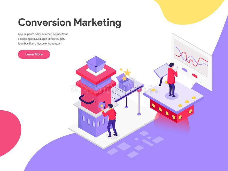 Landing page template of Conversion Marketing Illustration Concept. Isometric flat design concept of web page design for website. And mobile website.Vector stock illustration