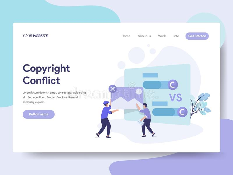 Landing page template of Copyright Conflict Illustration Concept. Isometric flat design concept of web page design for website and vector illustration