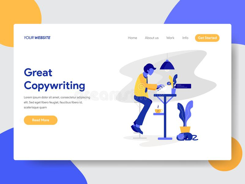 Landing page template of Copywriter Concept. Modern flat design concept of web page design for website and mobile website.Vector vector illustration